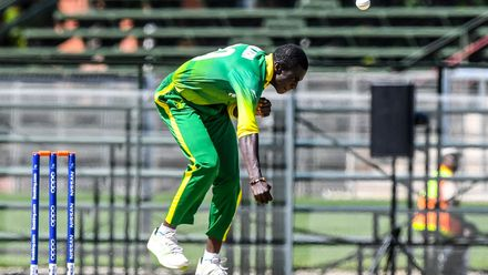 Abdulrasheed Abolarin of Nigeria during the ICC U19 Cricket World Cup Plate Quarter Final 1 match between Sri Lanka and Nigeria at Ibbies Oval on January 27, 2020 in Potchefstroom, South Africa.