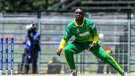 Sylvester Okpe of Nigeria during the ICC U19 Cricket World Cup Plate Quarter Final 1 match between Sri Lanka and Nigeria at Ibbies Oval on January 27, 2020 in Potchefstroom, South Africa.