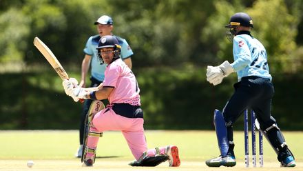 Ashley Thurgate of Japan bats with Harry Duke of England looking on during the ICC U19 Cricket World Cup Plate Quarter Final 2 match between England and Japan at Witrand Oval on January 27, 2020 in Potchefstroom, South Africa.