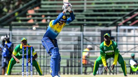 Novad Paranavithana of Sri Lanka during the ICC U19 Cricket World Cup Plate Quarter Final 1 match between Sri Lanka and Nigeria at Ibbies Oval on January 27, 2020 in Potchefstroom, South Africa.