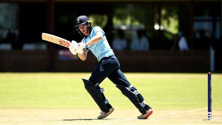 Sam Young of England bats during the ICC U19 Cricket World Cup Plate Quarter Final 2 match between England and Japan at Witrand Oval on January 27, 2020 in Potchefstroom, South Africa.