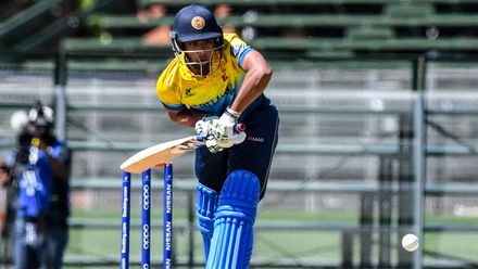 Mohamed Shamaz of Sri Lanka during the ICC U19 Cricket World Cup Plate Quarter Final 1 match between Sri Lanka and Nigeria at Ibbies Oval on January 27, 2020 in Potchefstroom, South Africa.