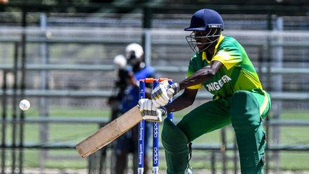 Elijah Olaleye of Nigeria during the ICC U19 Cricket World Cup Plate Quarter Final 1 match between Sri Lanka and Nigeria at Ibbies Oval on January 27, 2020 in Potchefstroom, South Africa.