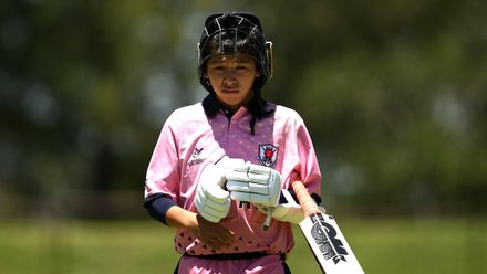 Masato Morita of Japan makes his way back to the pavilion during the ICC U19 Cricket World Cup Plate Quarter Final 2 match between England and Japan at Witrand Oval on January 27, 2020 in Potchefstroom, South Africa.