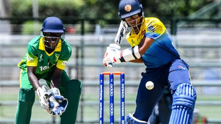 Ravindu Rashantha of Sri Lanka during the ICC U19 Cricket World Cup Plate Quarter Final 1 match between Sri Lanka and Nigeria at Ibbies Oval on January 27, 2020 in Potchefstroom, South Africa.