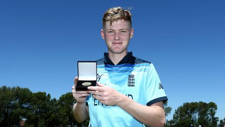 Dan Mousley of England poses with his player of the match award during the ICC U19 Cricket World Cup Plate Quarter Final 2 match between England and Japan at Witrand Oval on January 27, 2020 in Potchefstroom, South Africa.