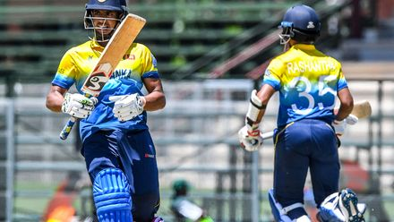 Mohamed Shamaz and Ravindu Rashantha of Sri Lanka in partnership during the ICC U19 Cricket World Cup Plate Quarter Final 1 match between Sri Lanka and Nigeria at Ibbies Oval on January 27, 2020 in Potchefstroom, South Africa.