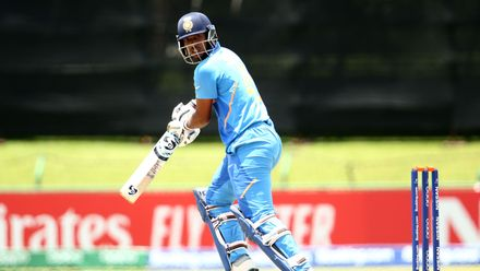 Atharva Ankolekar of India bats during the ICC U19 Cricket World Super League Cup Quarter Final 1 match between India and Australia at JB Marks Oval on January 28, 2020 in Potchefstroom, South Africa.