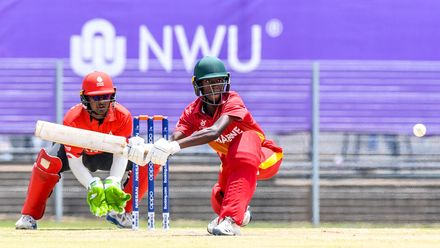Taurayi Tugwete of Zimbabwe during the ICC U19 Cricket World Cup Plate Quarter Final 3 match between Zimbabwe and Canada at Ibbies Oval on January 28, 2020 in Potchefstroom, South Africa.