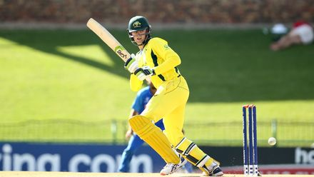 Liam Scott of Australia bats during the ICC U19 Cricket World Super League Cup Quarter Final 1 match between India and Australia at JB Marks Oval on January 28, 2020 in Potchefstroom, South Africa.