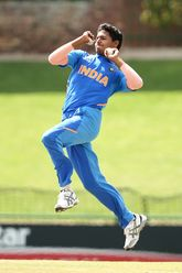 Akash Singh of India bowls during the ICC U19 Cricket World Super League Cup Quarter Final 1 match between India and Australia at JB Marks Oval on January 28, 2020 in Potchefstroom, South Africa.