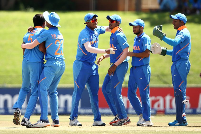 Kartik Tyagi of India celebrates his second wicket during the ICC U19 Cricket World Super League Cup Quarter Final 1 match between India and Australia at JB Marks Oval on January 28, 2020 in Potchefstroom, South Africa.