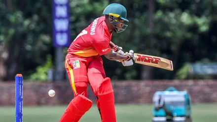 Emmanuel Bawa of Zimbabwe during the ICC U19 Cricket World Cup Plate Quarter Final 3 match between Zimbabwe and Canada at Ibbies Oval on January 28, 2020 in Potchefstroom, South Africa.