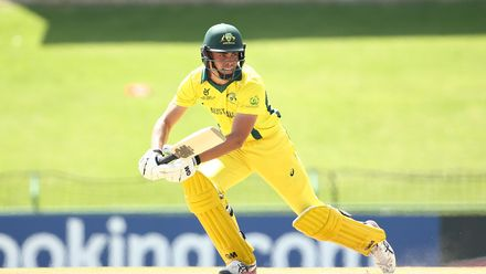Sam Fanning of Australia bats during the ICC U19 Cricket World Super League Cup Quarter Final 1 match between India and Australia at JB Marks Oval on January 28, 2020 in Potchefstroom, South Africa.
