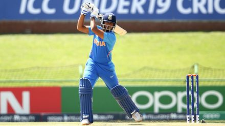Divyaansh Saxena of India bats during the ICC U19 Cricket World Super League Cup Quarter Final 1 match between India and Australia at JB Marks Oval on January 28, 2020 in Potchefstroom, South Africa.