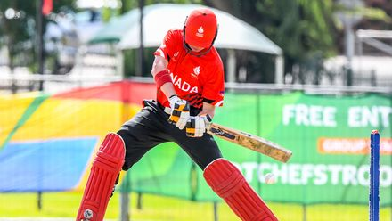 Ben Calitz of Canada during the ICC U19 Cricket World Cup Plate Quarter Final 3 match between Zimbabwe and Canada at Ibbies Oval on January 28, 2020 in Potchefstroom, South Africa.