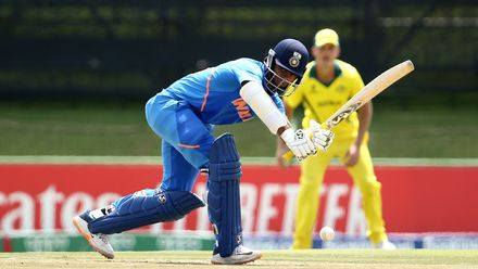 Yashasvi Jaiswal of India bats during the ICC U19 Cricket World Super League Cup Quarter Final 1 match between India and Australia at JB Marks Oval on January 28, 2020 in Potchefstroom, South Africa.