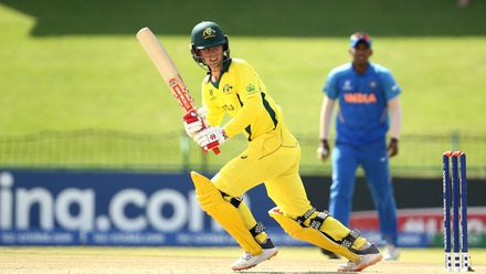 Patrick Rowe of Australia bats during the ICC U19 Cricket World Super League Cup Quarter Final 1 match between India and Australia at JB Marks Oval on January 28, 2020 in Potchefstroom, South Africa.