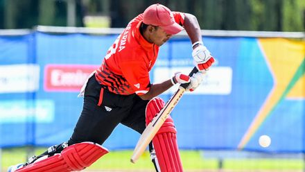Eshan Sensarama of Canada during the ICC U19 Cricket World Cup Plate Quarter Final 3 match between Zimbabwe and Canada at Ibbies Oval on January 28, 2020 in Potchefstroom, South Africa.