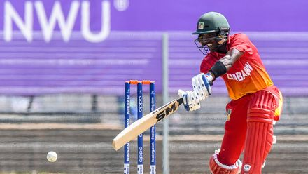Wessly Madhevere of Zimbabwe during the ICC U19 Cricket World Cup Plate Quarter Final 3 match between Zimbabwe and Canada at Ibbies Oval on January 28, 2020 in Potchefstroom, South Africa.