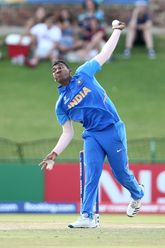 Atharva Ankolekar of India bowls during the ICC U19 Cricket World Super League Cup Quarter Final 1 match between India and Australia at JB Marks Oval on January 28, 2020 in Potchefstroom, South Africa.
