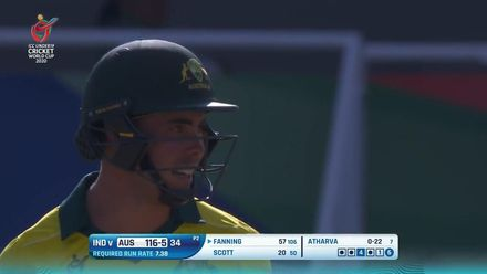 ICC U19 CWC: IND v AUS – Fanning goes down on a knee and launches a big one