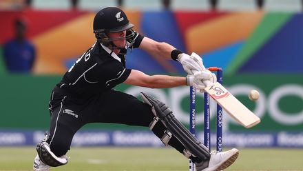 Joseph Field of New Zealand looks to play a ramp shot during the ICC U19 Cricket World Super League Cup Quarter Final match between West Indies and New Zealand at Willowmoore Park on January 29, 2020 in Benoni, South Africa.