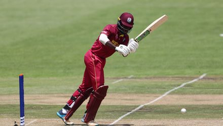 Kirk McKenzie of West Indies hits the ball towards the boundary during the ICC U19 Cricket World Super League Cup Quarter Final match between West Indies and New Zealand at Willowmoore Park on January 29, 2020 in Benoni, South Africa.
