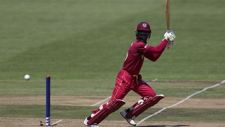 Kevlon Anderson of West Indies hits the ball towards the boundary during the ICC U19 Cricket World Super League Cup Quarter Final match between West Indies and New Zealand at Willowmoore Park on January 29, 2020 in Benoni, South Africa.
