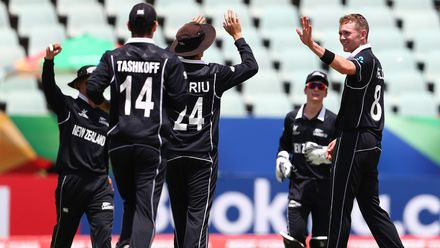 Joseph Field of New Zealand is congratulated on the wicket of Ashmead Nedd of West Indies during the ICC U19 Cricket World Super League Cup Quarter Final match between West Indies and New Zealand at Willowmoore Park on January 29, 2020 in Benoni.