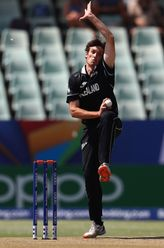 Kristian Clarke of New Zealand in action during the ICC U19 Cricket World Super League Cup Quarter Final match between West Indies and New Zealand at Willowmoore Park on January 29, 2020 in Benoni, South Africa.