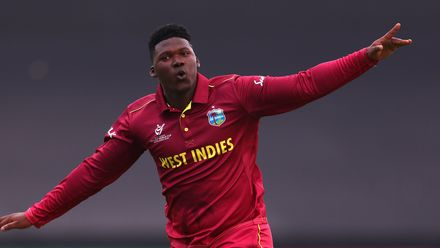 Ashmead Nedd of West Indies celebrates bowling Beckham Wheeler-Greenall of New Zealand during the ICC U19 Cricket World Super League Cup Quarter Final match between West Indies and New Zealand at Willowmoore Park on January 29, 2020 in Benoni.