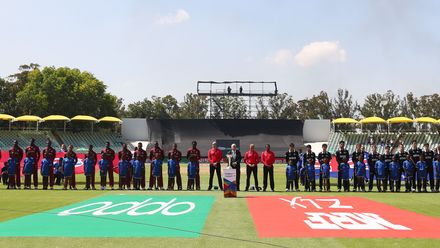 West Indies line up against New Zealand during the ICC U19 Cricket World Super League Cup Quarter Final match between West Indies and New Zealand at Willowmoore Park on January 29, 2020 in Benoni, South Africa.