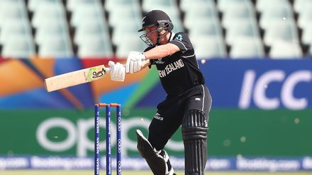 Quinn Sunde of New Zealand hits the ball towards the boundary during the ICC U19 Cricket World Super League Cup Quarter Final match between West Indies and New Zealand at Willowmoore Park on January 29, 2020 in Benoni, South Africa.