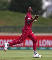 Nyeem Young of West Indies celebrates the wicket of Jesse Tashkoff of New Zealand during the ICC U19 Cricket World Super League Cup Quarter Final match between West Indies and New Zealand at Willowmoore Park on January 29, 2020 in Benoni, South Africa.