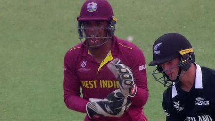 ICC U19 CWC: WI v NZ – Beckham Wheeler-Greenall swipes, misses and is bowled