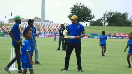 ICC U19 CWC: Makhaya Ntini plays with the Cricket 4 Good kids during the interval