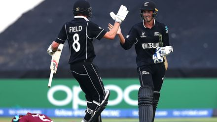 Kristian Clarke of New Zealand celebrates hitting the winning runs with Joseph Field of New Zealand during the ICC U19 Cricket World Super League Cup Quarter Final match between West Indies and New Zealand at Willowmoore Park on January 29, 2020.