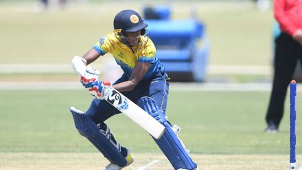 Nipun Dananjaya of Sri Lanka during the ICC U19 Cricket World Cup Plate Semi-Final match between Sri Lanka and Scotland at Absa Puk Oval on January 30, 2020 in Potchefstroom, South Africa.