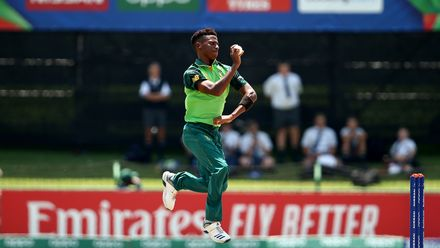 Mondli Khumalo of South Africa bowls during the ICC U19 Cricket World Super League Cup Quarter Final 3 match between Bangladesh and South Africa at JB Marks Oval on January 30, 2020 in Potchefstroom, South Africa.