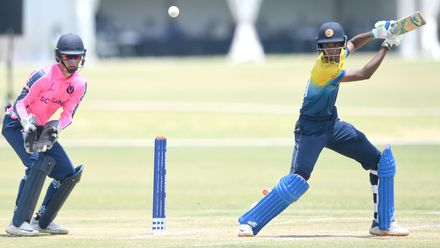 Ahan Wickramasinghe of Sri Lanka during the ICC U19 Cricket World Cup Plate Semi-Final match between Sri Lanka and Scotland at Absa Puk Oval on January 30, 2020 in Potchefstroom, South Africa.