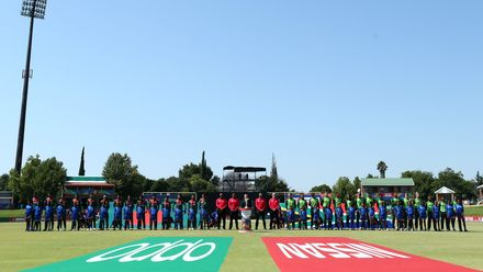Teams line up for the national anthems during the ICC U19 Cricket World Super League Cup Quarter Final 3 match between Bangladesh and South Africa at JB Marks Oval on January 30, 2020 in Potchefstroom, South Africa.