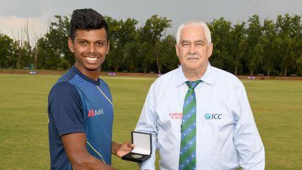 Player of the match, Nipun Dananjaya Perera of Sri Lanka, ICC U19 Cricket World Cup Plate Semi-Final match between Sri Lanka and Scotland at Absa Puk Oval on January 30, 2020 in Potchefstroom, South Africa.