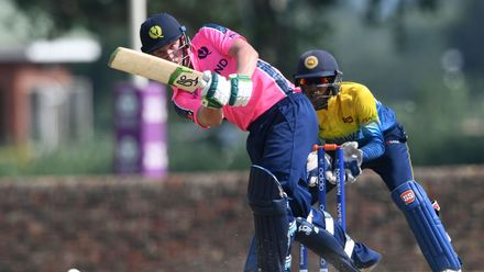 Angus Guy of Scotland during the ICC U19 Cricket World Cup Plate Semi-Final match between Sri Lanka and Scotland at Absa Puk Oval on January 30, 2020 in Potchefstroom, South Africa.