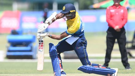 Kamil Mishara of Sri Lanka during the ICC U19 Cricket World Cup Plate Semi-Final match between Sri Lanka and Scotland at Absa Puk Oval on January 30, 2020 in Potchefstroom, South Africa.