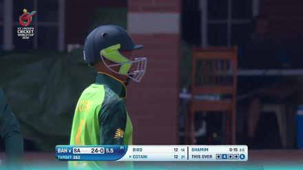 ICC U19 CWC: SA v BAN – Cotani punishes Shamim's full toss with a massive six