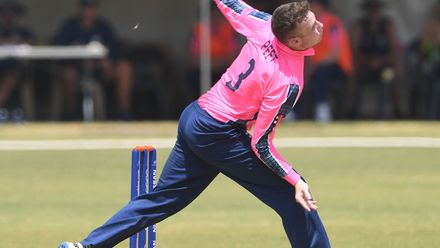 Charlie Peet of Scotland during the ICC U19 Cricket World Cup Plate Semi-Final match between Sri Lanka and Scotland at Absa Puk Oval on January 30, 2020 in Potchefstroom, South Africa.