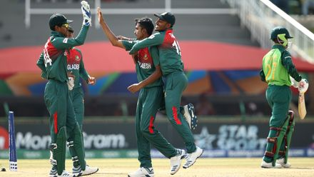 Mohammad Tanzim Hasan Sakib of Bangladesh celebrates taking the wicket of Tyrese Karelse of South Africa during the ICC U19 Cricket World Super League Cup Quarter Final 3 match at JB Marks Oval on January 30, 2020.