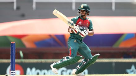 Shahadat Hossain of Bangladesh bats during the ICC U19 Cricket World Super League Cup Quarter Final 3 match between Bangladesh and South Africa at JB Marks Oval on January 30, 2020 in Potchefstroom, South Africa.