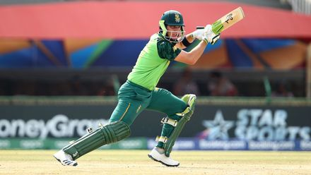 Luke Beaufort of South Africa bats during the ICC U19 Cricket World Super League Cup Quarter Final 3 match between Bangladesh and South Africa at JB Marks Oval on January 30, 2020 in Potchefstroom, South Africa.
